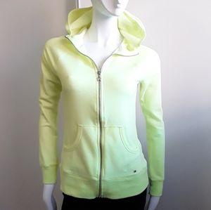 VS neon yellow sequin zip up wings hooded sweater